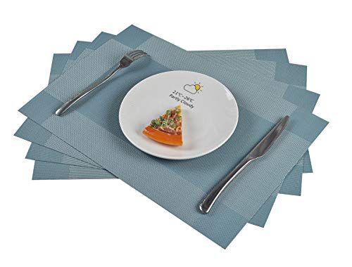 - famibay PVC Placemats Set of 6 Heat Resistant Vinyl Cross Weave Place Mats Washable Kitchen Table Placemats Set of 4(Teal)