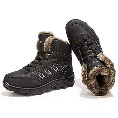 Amazon.com | COUTUDI Mens Hiking Snow Boots Fur Lining