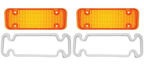 (2) 1971-1972 Chevy Truck Parking Light Lenses With Gaskets, Amber Lens, (Parking Light Gaskets)