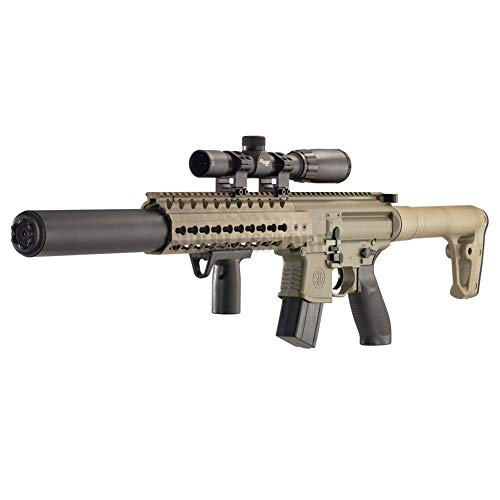 1077 Air Rifle - Sig Sauer MCX .177 Cal Co2 Powered (30 Rounds) 14x 24mm Scope Air Rifle, Flat Dark Earth (CO2 Not Included)