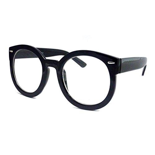 RETRO Nerd Oversized Plastic Unisex Round Frame Clear Lens Eye Glasses BLACK (Cool Nerd Glasses)