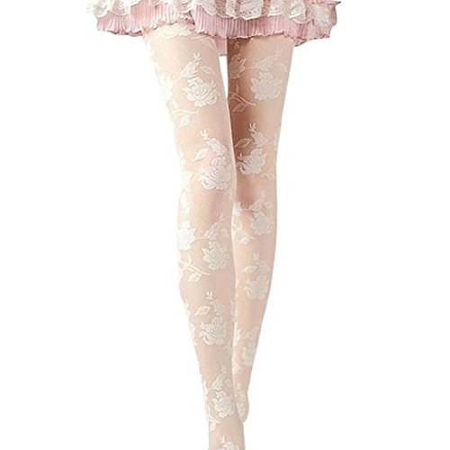 - HEART SPEAKER Women Sexy Lace Pantyhose Rose Pattern Sheer Tights Stockings (White)