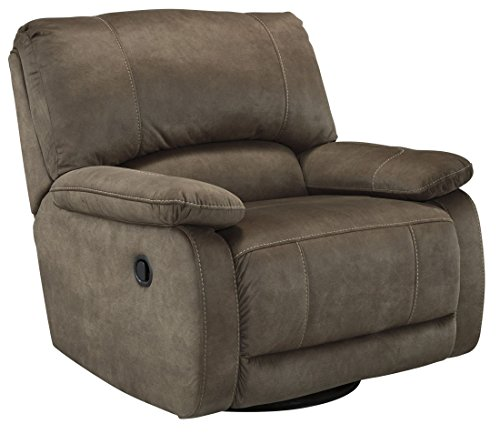 Ashley Furniture Signature Design - Seamus Recliner - Swivel Glider - Pull Tab Manual Recliner - Contemporary - Taupe