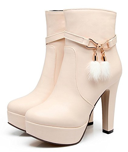 Aisun Womens Fashion Chunky High Heel Dressy Platform Short Boots Inside Zip Up Round Toe Ankle Booties With Zipper Beige CmjrW