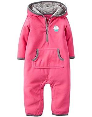 Carters Baby Girls Appliqué Hooded Fleece Jumpsuit