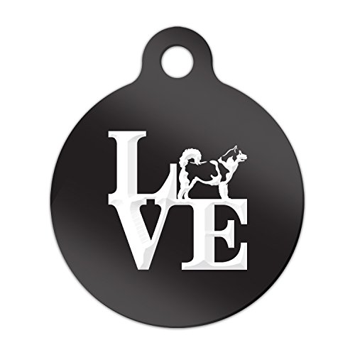 Love Alaskan Malamute Engraved Keychain / Round Tag with Tab Mister Petlife park mally Black ()