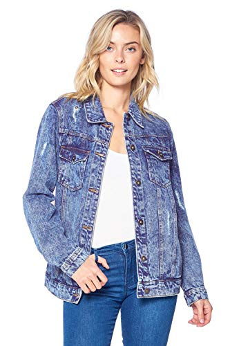 Blue Age Women's Distressed Jean Jacket Medium Denim (JK4016N_MD_S) ()