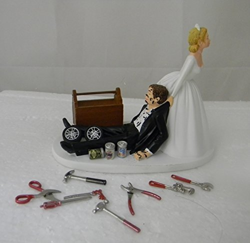 Wedding Reception Beer Cans Shop Garage Mechanic tool grease Cake Topper