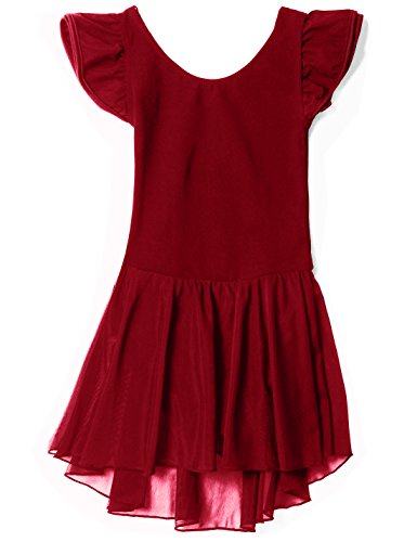 MdnMd Dance Leotard for Girls with Flutter Sleeve (Burgundy Red Wine (Tag 130 Age 6-8) (Best Red Wine Brands With Price)