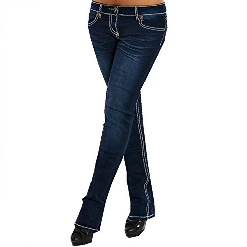 Rise Slim Women Pants - EVEDESIGN Women's Slim Fit Low Rise Jeans Stretch Straight Embroider Bootcut Denim Pants