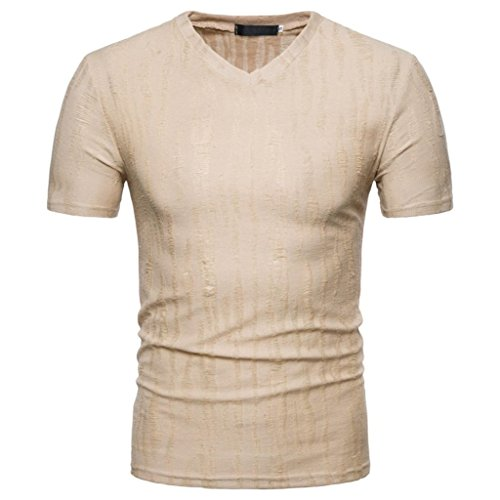 GREFER Men's Summer Casual Self-cultivation V Neck Pullover T-Shirt Top Blouse (XL, Khaki) (Shirt Dress Plaid White)