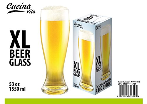 Cucina Vita XL Beer Glass - Holds 53oz - More than 4 Bottle of Beer! (Xl Beer Glass compare prices)