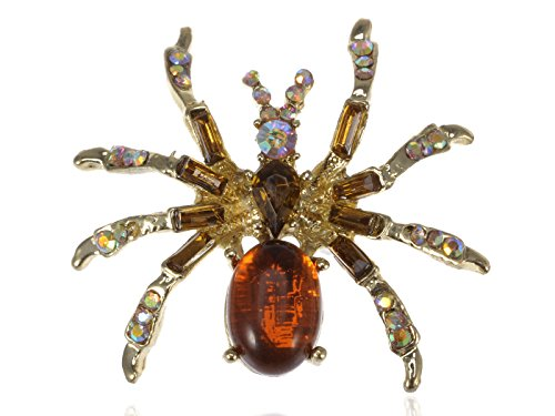Alilang Warm Amber Golden Crystal Rhinestone Spider Fashion Jewelry Pin Brooch -