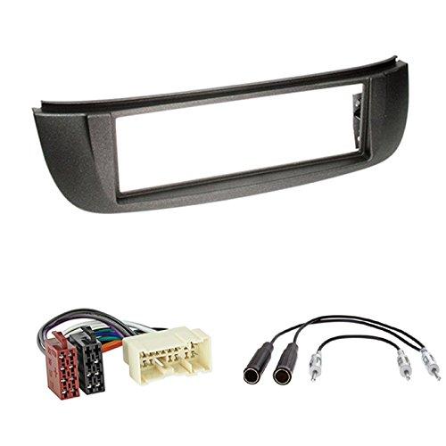 ISO Radio Adapter Einbauset: 1-DIN Radioblende Halterung f/ür Nissan Almera Tino Antenne Stecker V10 07//2000-03//2003 Farbe: schwarz