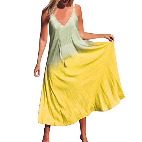 Women Spaghetti Strap V Neck Maxi Dress Fashion Summer Casual Sleeveless Gradient Long Loose Beach Dresses (Small, Yellow)