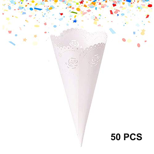 (50PCS Wedding Petal Cones, Disposable Paper Flower Petal Confetti Toss Cones Dried Flower Petal Lace Design Wedding Party Paper Cone with Double-Sided Tape by Rely2016 (Rose, Transparent))