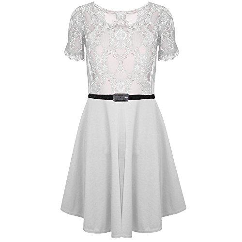 Be Jealou Skater Kleid Damen Spitze Netz mit Gürtel ausgestellt ...