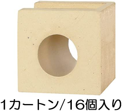 ブロック せっき質無釉ブロック ポーラスブロック100コーナー ハナワ サークルA(配筋溝あり・1面フラット) 16個セット単位 屋外壁