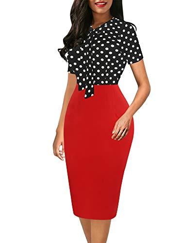Sakaly Women's Polka Dot Print Casual Slimming Office Dresses for Work SK299 (L, Dot Red PT)