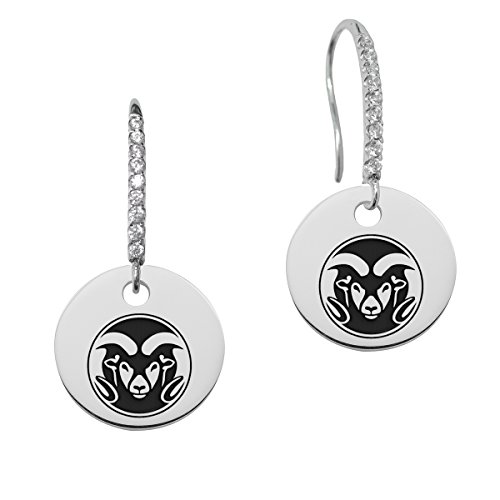Colorado State Rams Round Charm and Cz Earring in Solid Sterling Silver by College Jewelry