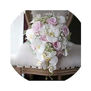 Ivory Pink Cascading Bridal Bouquets De Mariage Roses Orchid Artificial Silk Flower Handmade Wedding Bouquet 97
