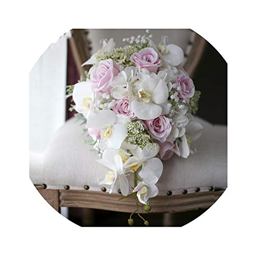 Ivory Pink Cascading Bridal Bouquets De Mariage Roses Orchid Artificial Silk Flower Handmade Wedding Bouquet ()