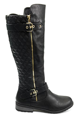 Forever Link Womens Quilted Zipper Accent Riding Mango-21 (10, Black)