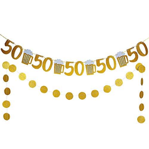(Gold Glittery Beer Mug & 50 Banner and Gold Glittery Circle Dots Garland -50th Birthday Wedding Anniversary Party Decor)