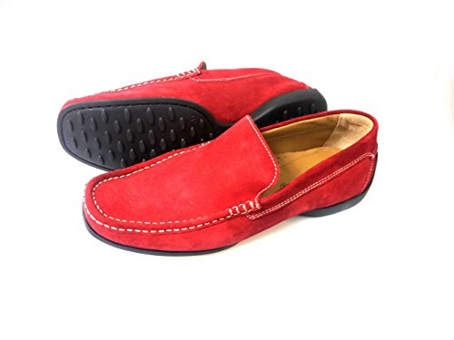 Pratik Albert mens loafer/best driving shoes.Very flexible combination of quality leather and rubber sole.very comfortable every day wear (39, Red Suede leather)