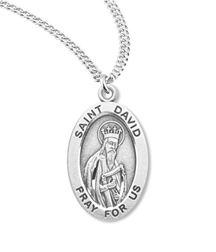 BERTOF SAINT DAVID STERLING SILVER Medal 7/8 Oval With Chain & Copyrighted Paul Herbert Blessing SILPATRON ()