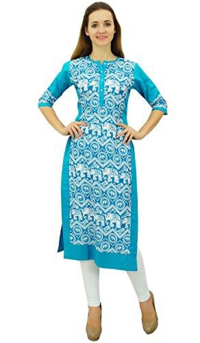 Phagun Imprim Casual Manches 3 Bleu Femme Kurta Droite Ciel 4 Kurti 7qZR7Sw