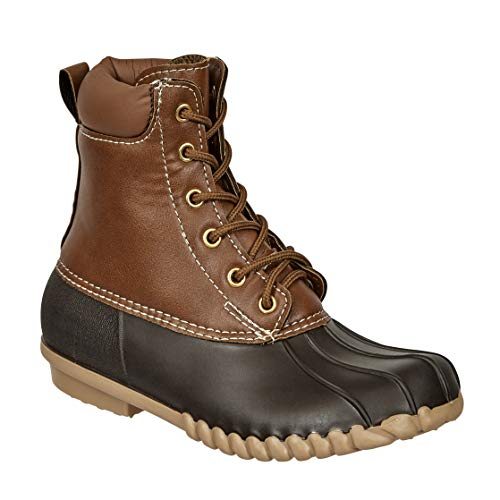 MVE Shoes Women's Two-Tone Insulated Duck Rain Boot Brown*a2