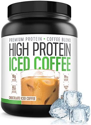 Protein Coffee Iced Coffee, High Protein Coffee, Protein Coffee, Keto Friendly, 18g of Protein, 2g Carbs, All Natural 18 Servings, Chocolate Iced Coffee