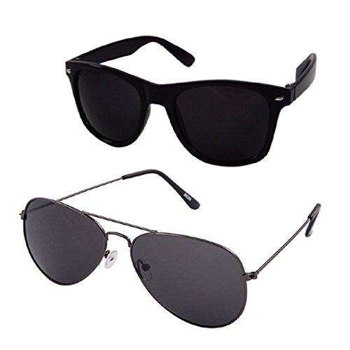 Silver Kartz UV Protection Combo Aviator & Wayfarer Unisex Sunglasses (av031 140 Black)