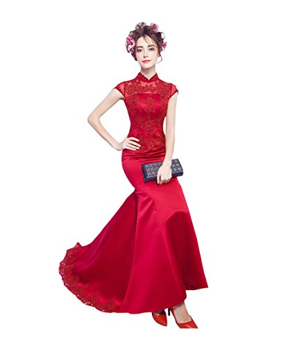 (Beauty-Emily Maxi Cap Sleeve Satin See-Through Sweep Train Lace Applique Cheongsam Engagement Banquet Fashion Prom Dresses Color Red,Size US20W)