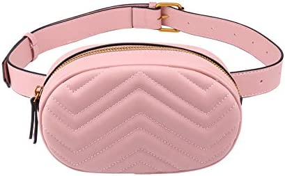 f953aaf1c34 Women Waist Bum Bag PU Leather Belt Bag fanny pack for Party Travel Hiking  (Pink)