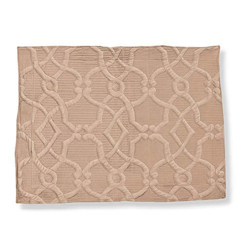 - Collections Etc Elegant Velvet Embossed Lattice Pattern Pillow Sham, Taupe, Sham