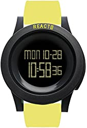 REACT! Mens Sport Watch Yellow Silicone Band Large Face Black Dial RA3034