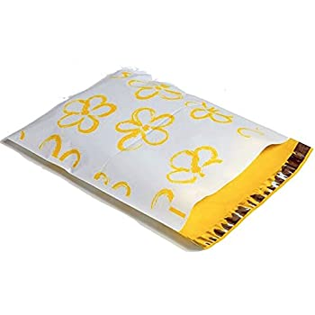 10x13 Yellow Flowers Poly Mailers Envelopes Boutique Shipping Bags Designer Mailers(tm) (100)