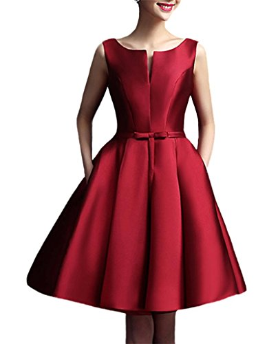 YORFORMALS Bateau Neck Short Evening Dress A-line Satin Prom Gown Size 4 Burgundy
