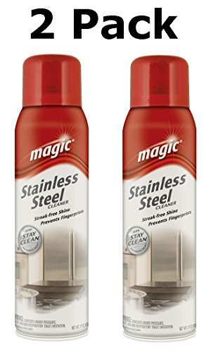 Magic Stainless Steel Cleaner with Stay Clean Technology Aerosol Spray, 17 Oz (2 Pack)