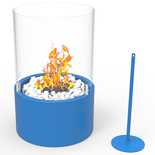 Regal Flame Casper Ventless Indoor Outdoor Fire Pit Tabletop Portable Fire Bowl Pot Bio Ethanol Fireplace in Blue - Realistic Clean Burning like Gel Fireplaces, or Propane Firepits ()