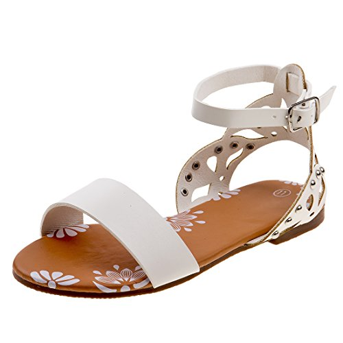 Josmo Girls Ankle Strap Sandal With Stud, White, 13 M US Little Kid' (Girls Dress Strappy)