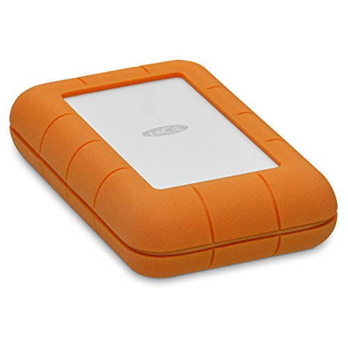 LaCie Rugged Thunderbolt USB-C 5TB External USB 3.1 Gen 1 / Thunderbolt 3 Portable Hard Drive Orange/silver STFS5000800