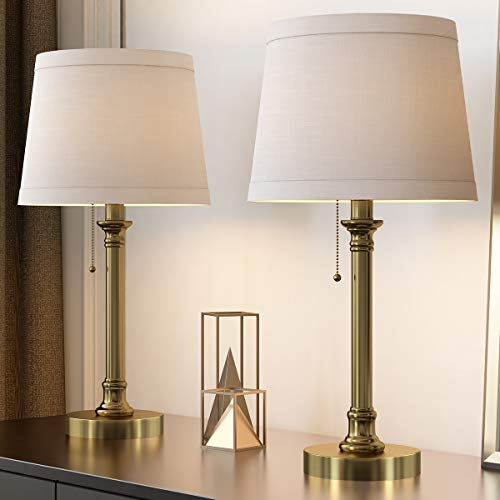 Oneach Modern Table Lamp Set of 2 for Bedroom Living Room Bedside Reading Lamps with White Drum Shade Antique Brass