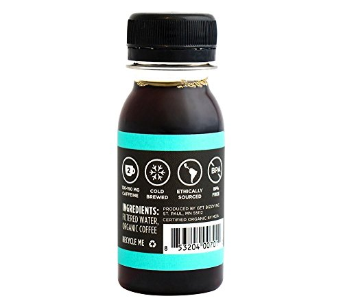 Bizzy Organic Cold Brew Coffee Concentrate - Single Serve 2oz Double Shot - Black Coffee - 12 Pack by Bizzy (Image #2)