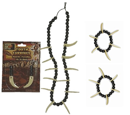 Saber Tooth Jewelry for Caveman and Cavewoman - Necklace Earrings Bracelets -
