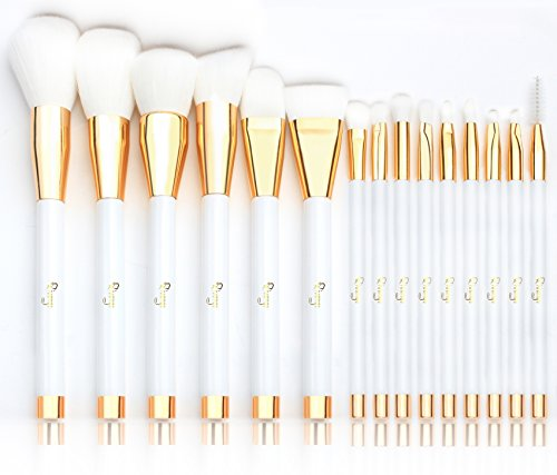 Qivange Makeup Brush Set Synthetic Makeup Brush Eye Makeup Brushes Professional Makeup Brushes(15pcs, White with Gold)