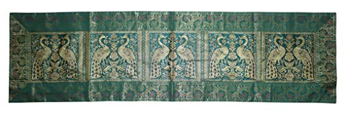 (Lalhaveli Rajasthani Hand Art Peacock Work Design Silk Table Runner & Table Cloth 60 x 16 Inch Green Color)