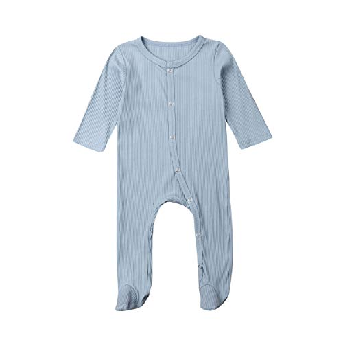 OVKMANG Newborn Baby Girl Boy Romper Long Sleeve Single-Breasted Cotton Solid Color Jumpsuit One Piece Bodysuit Outfits Clothes (Blue, 3-6 Months)